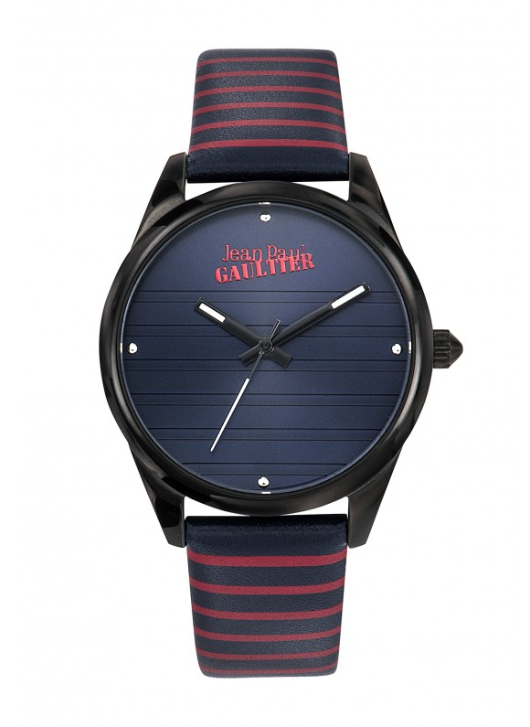 WOMAN/IP BLACK/BLUE LEATHER&RED STRI